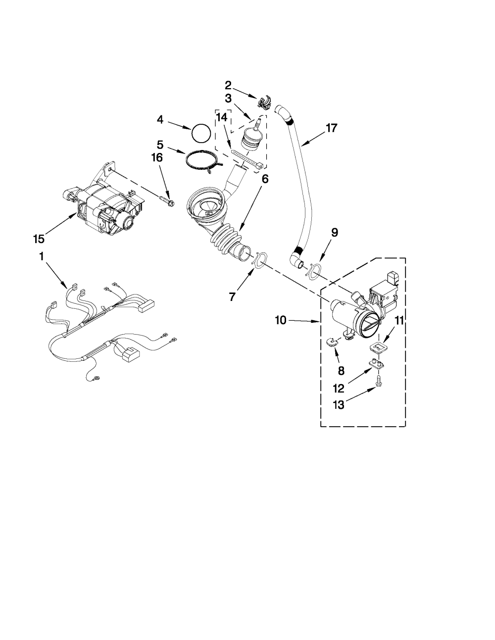 medium resolution of whirlpool wfw9150ww01 pump and motor parts diagram