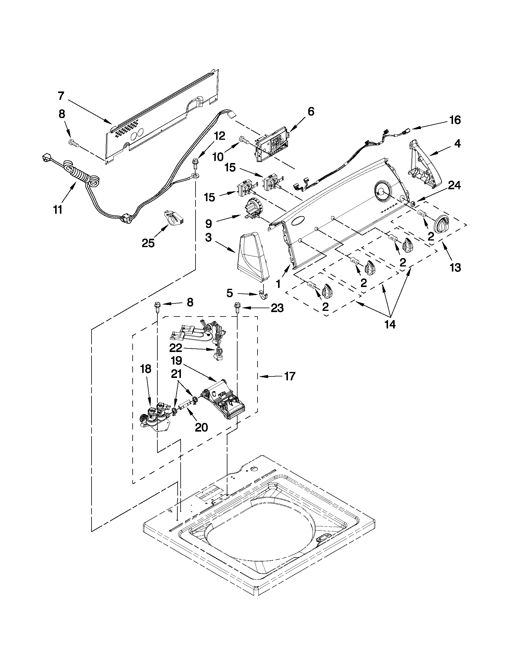 CONTROLS AND WATER INLET PARTS Diagram & Parts List for