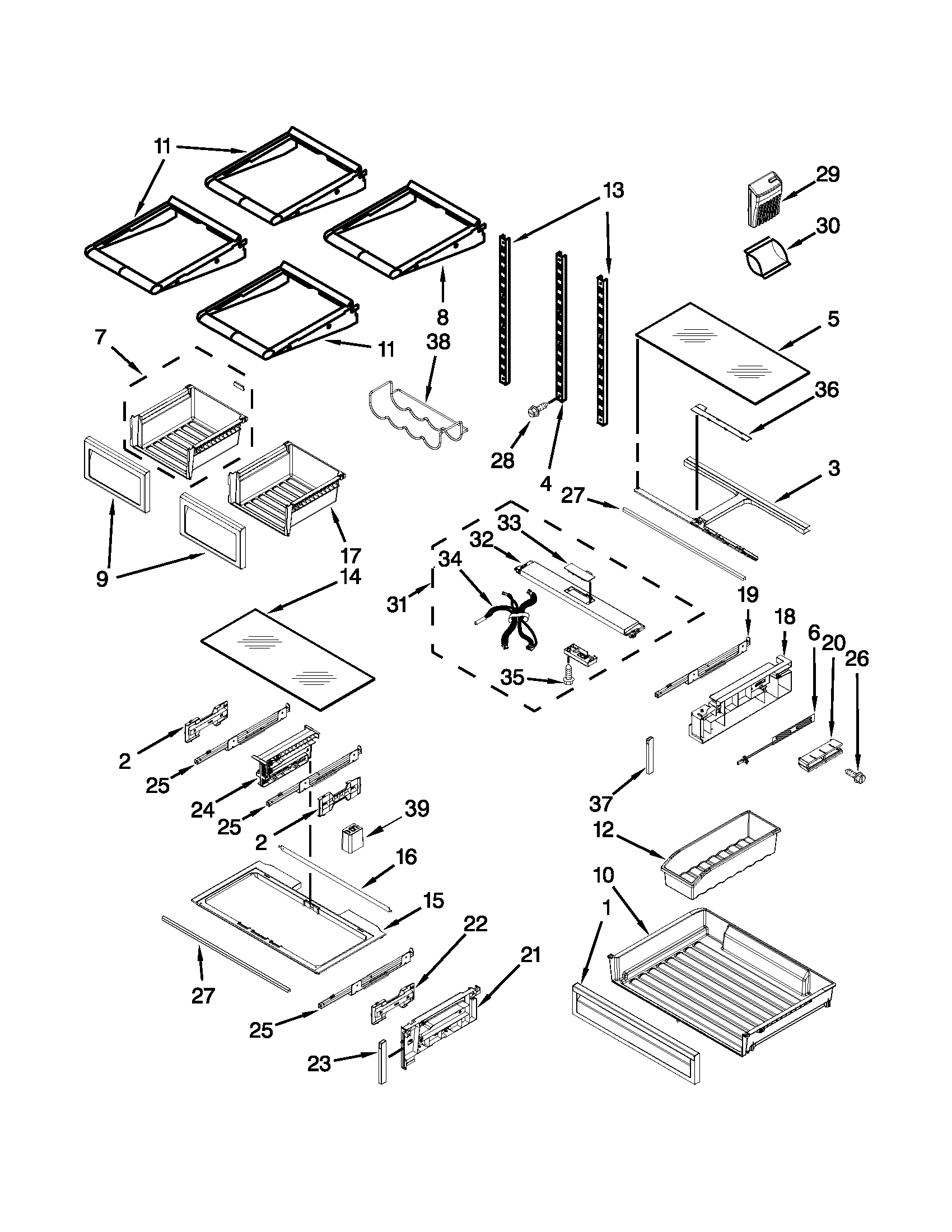 SHELF PARTS Diagram & Parts List for Model kfiv29pcms00