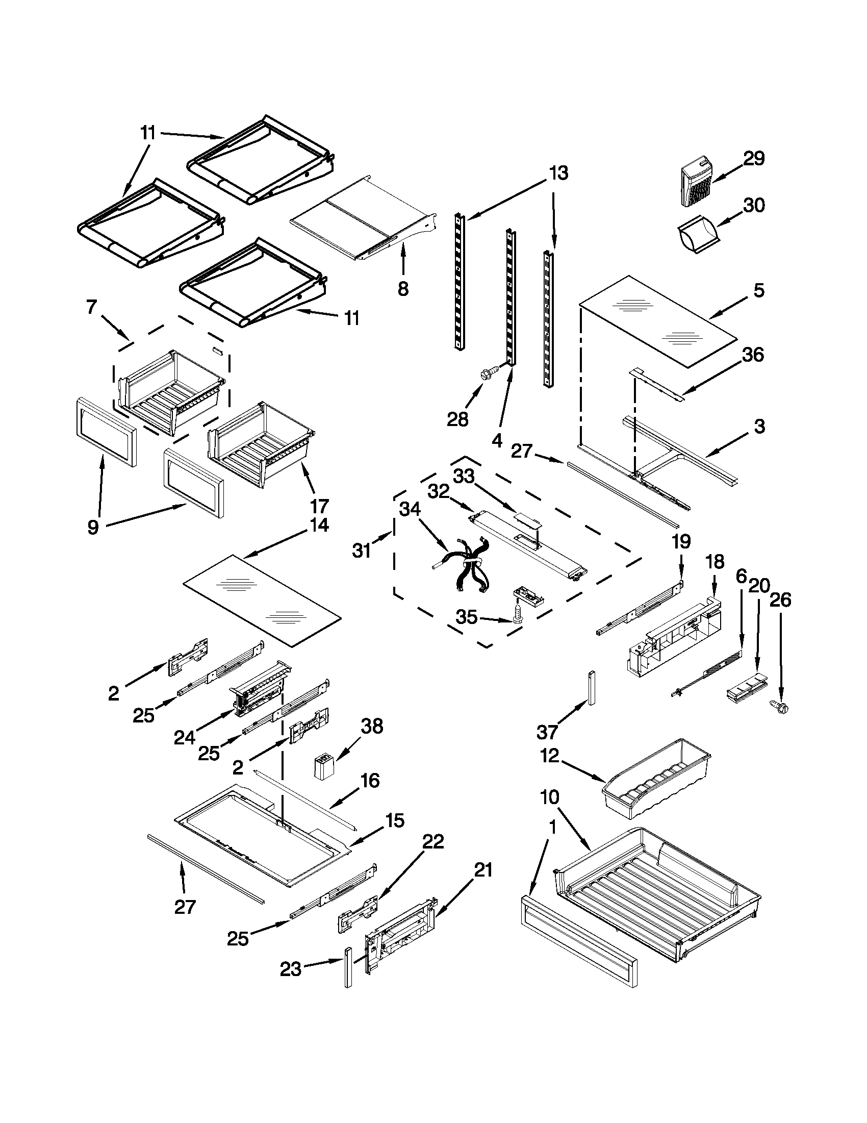 SHELF PARTS Diagram & Parts List for Model kfis29bbms02