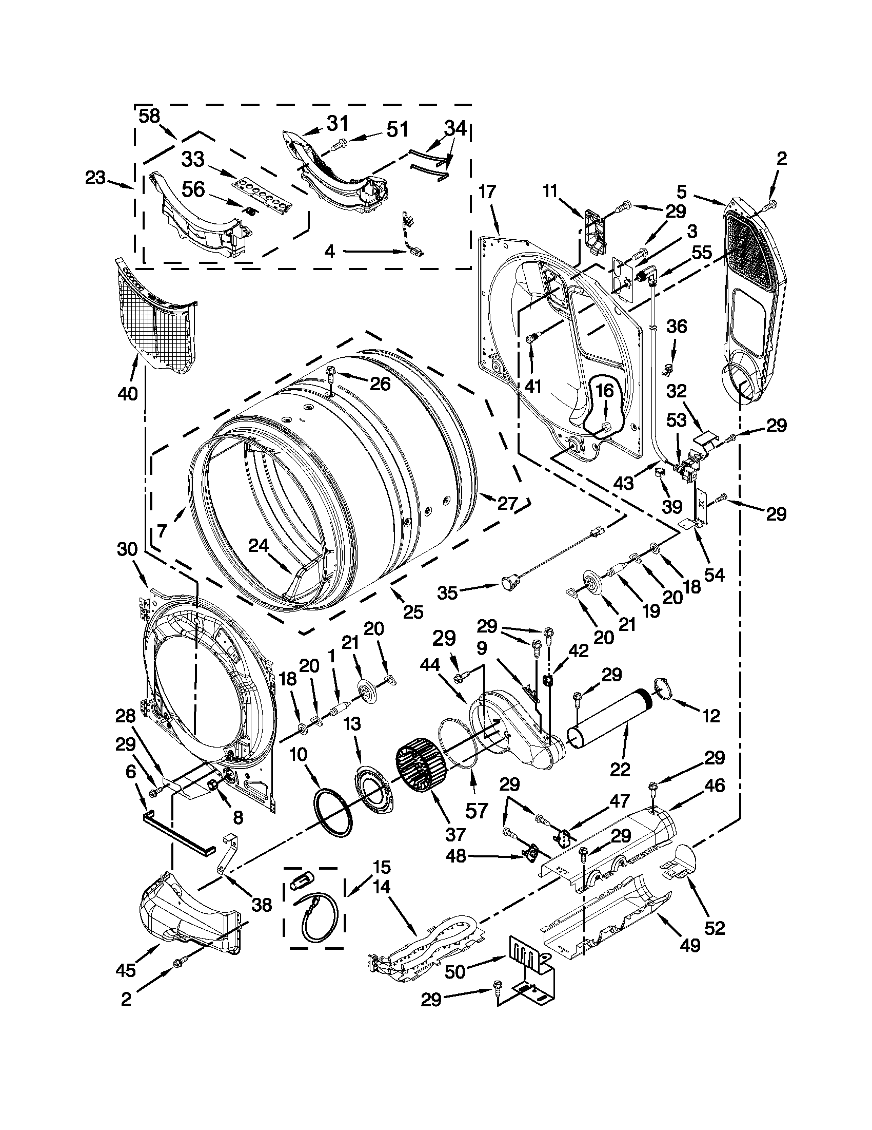 BULKHEAD PARTS Diagram & Parts List for Model med6000xw1