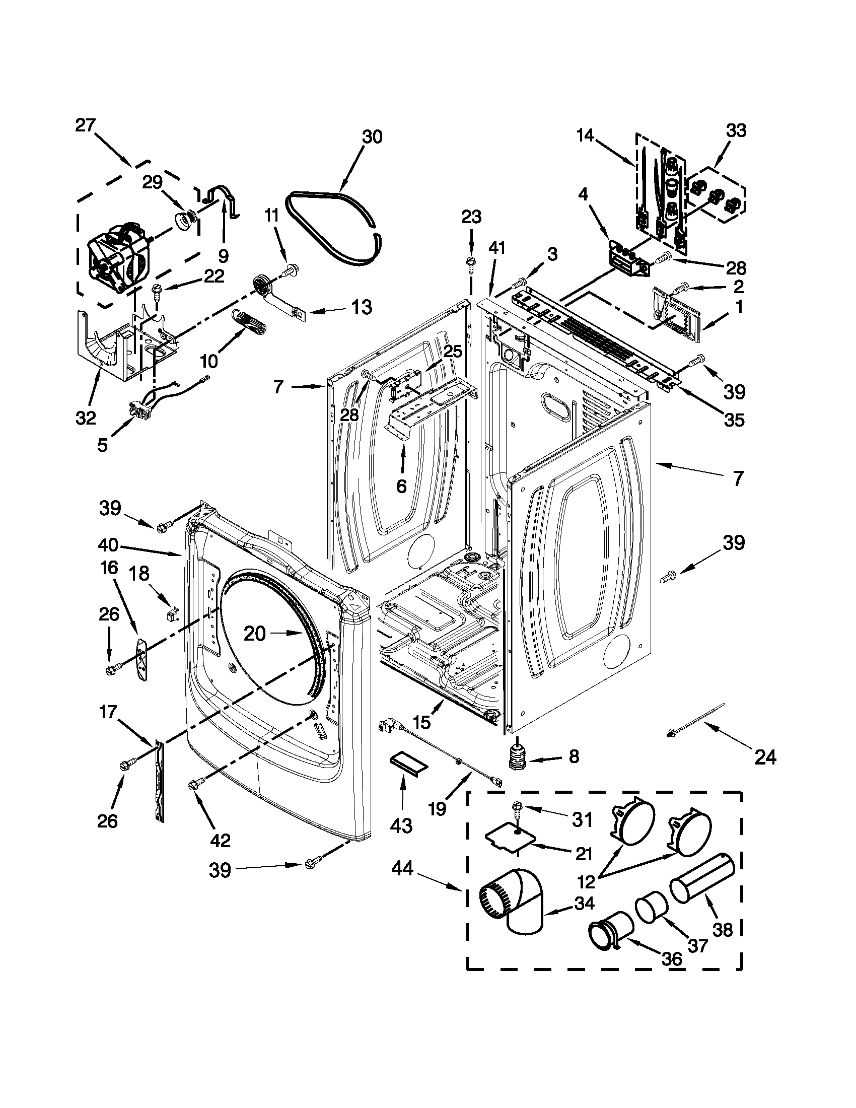 CABINET PARTS Diagram & Parts List for Model med6000xw2