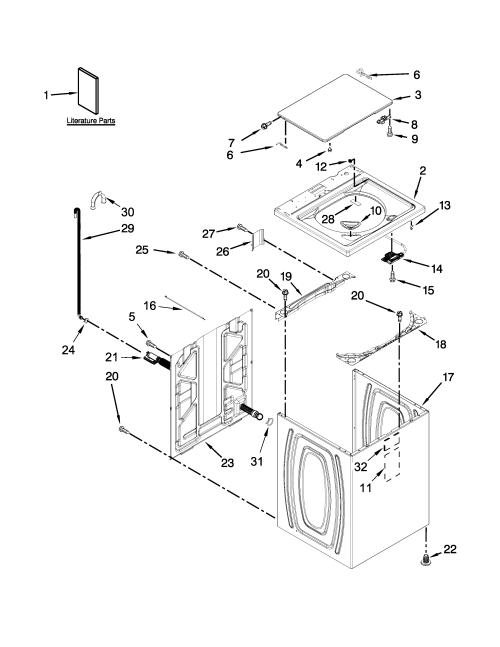 small resolution of whirlpool wtw5000dw1 top and cabinet parts diagram