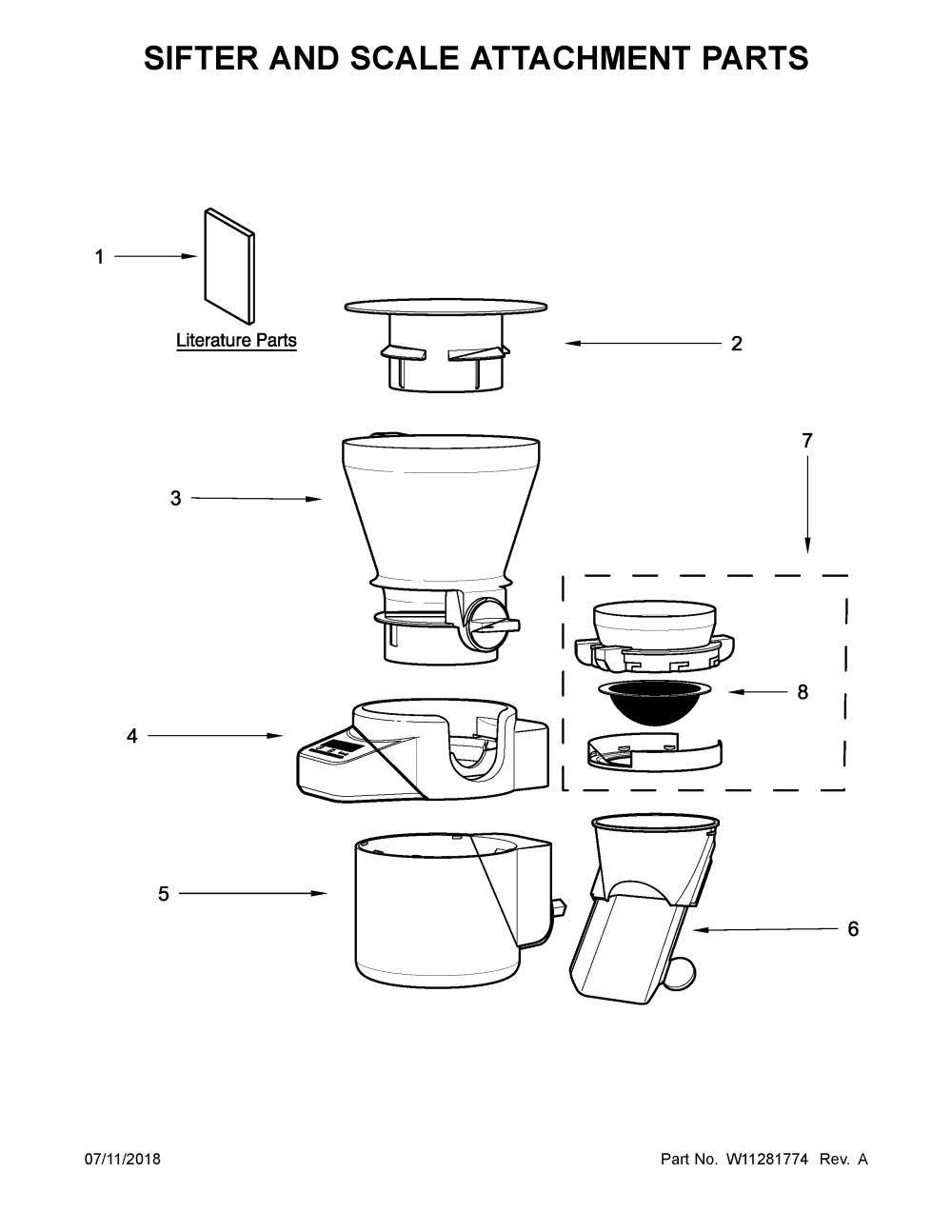 medium resolution of kitchenaid ksmsfta0 sifter and scale attachment parts diagram