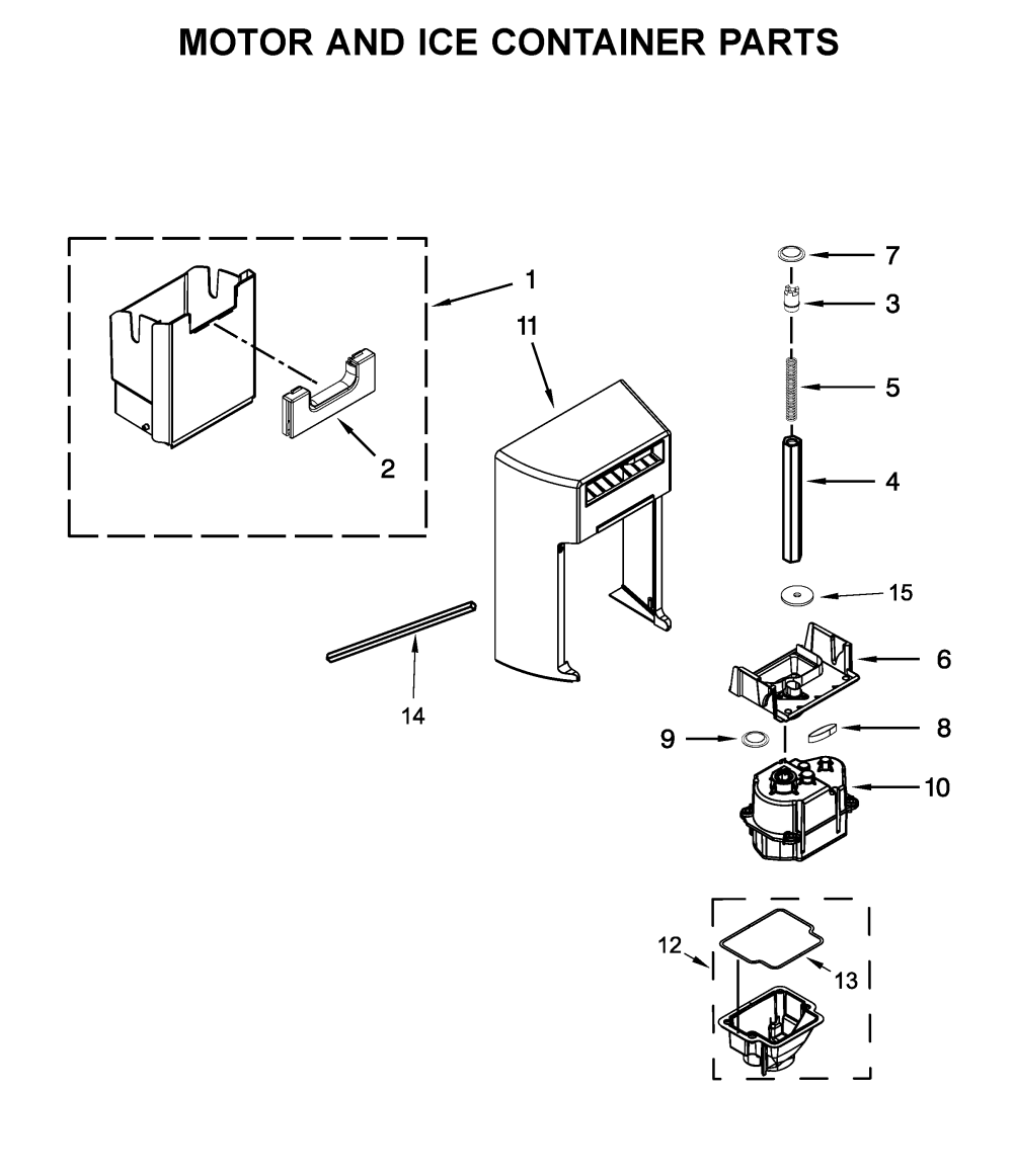 medium resolution of whirlpool wrs526siah00 motor and ice container parts diagram