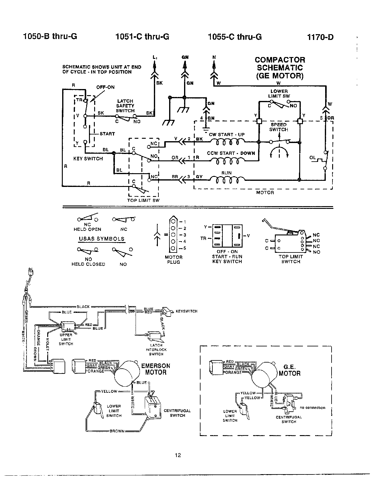 hight resolution of broan model 1050 d thru g compactors genuine parts rh searspartsdirect com whirlpool wiring diagrams broan wiring diagram for broan model c100
