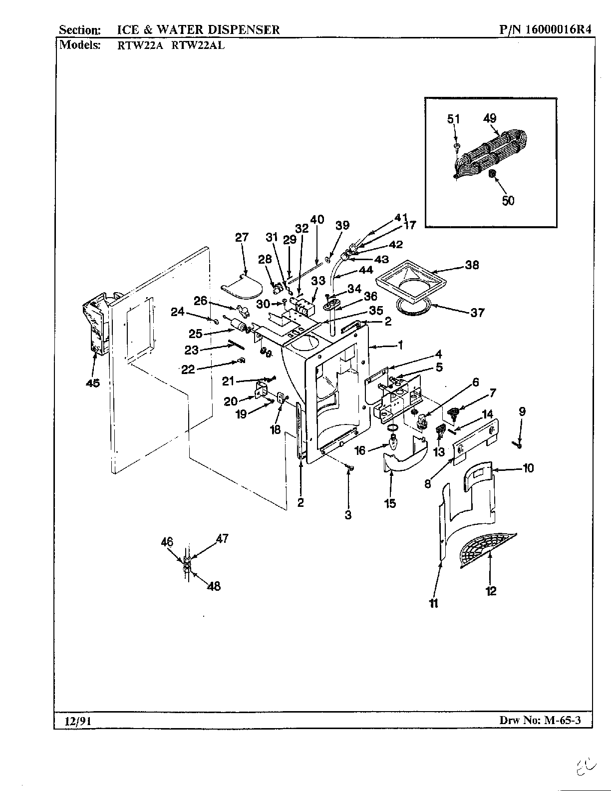ICE AND WATER DISPENSER Diagram & Parts List for Model