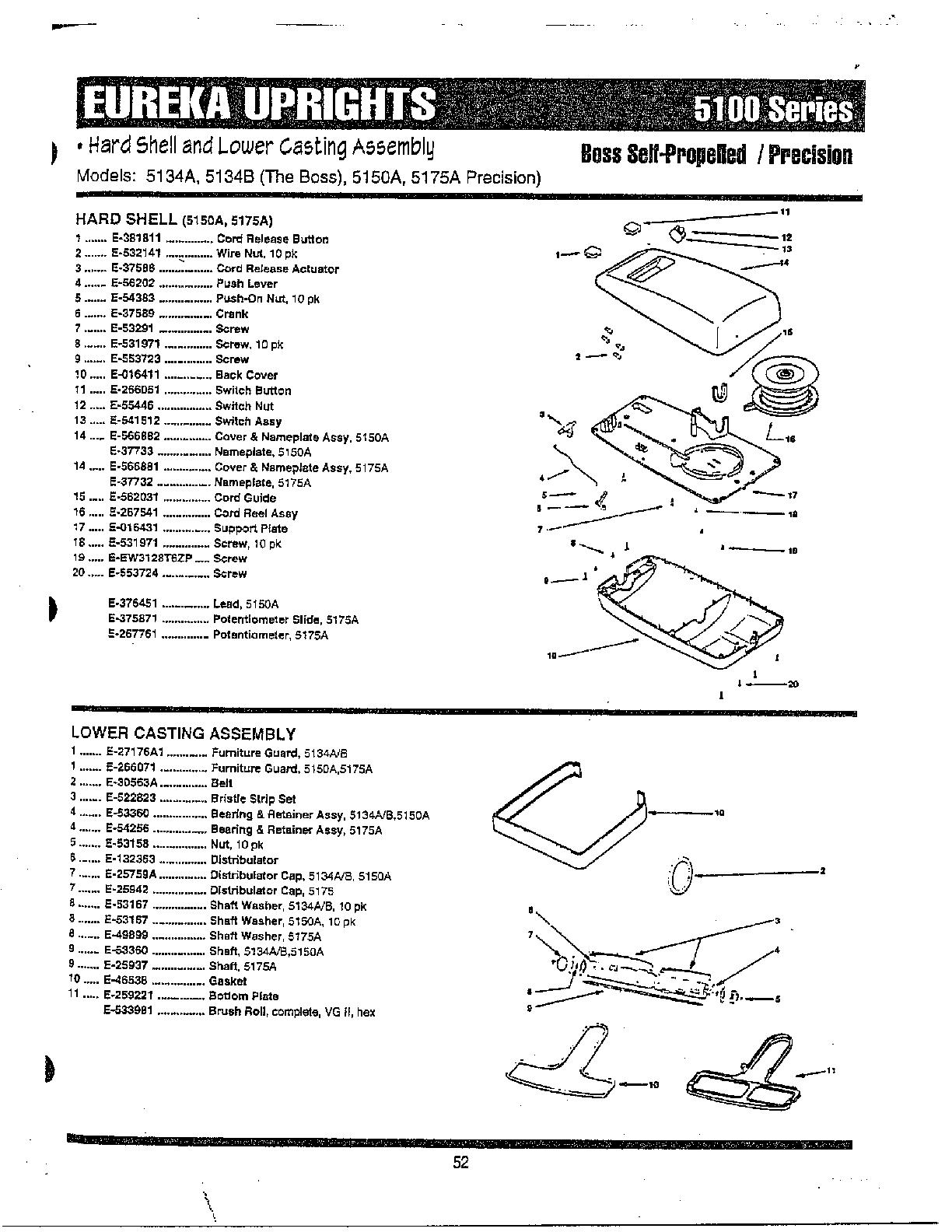 Eureka The Boss Self-Propelled Vacuum Handle/bag Parts