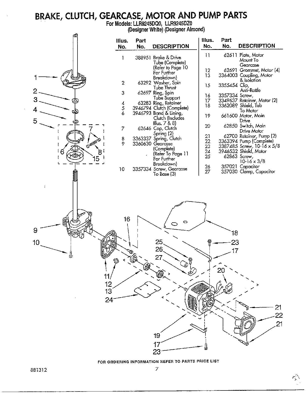 hight resolution of whirlpool llr9245dqo brake clutch gearcase motor and pump diagram