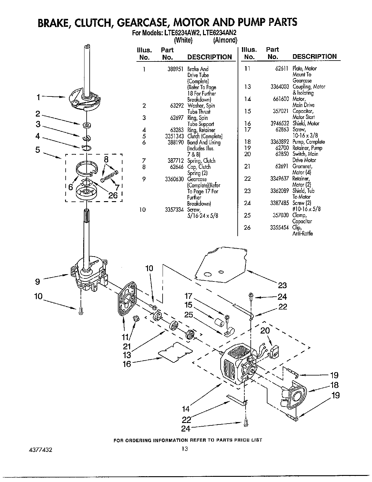 hight resolution of whirlpool lte6243an2 brake clutch and motor parts diagram