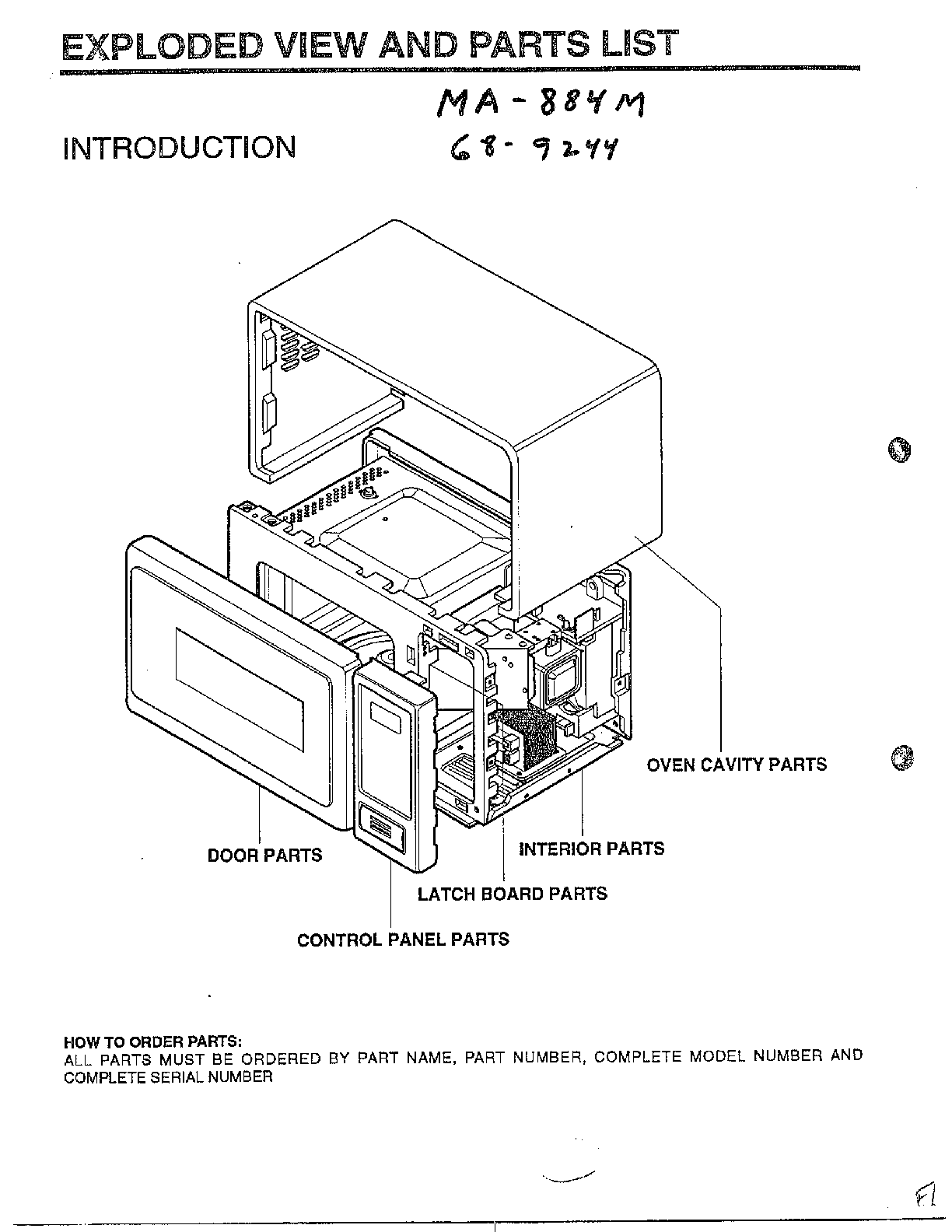 Microwave Oven Parts List