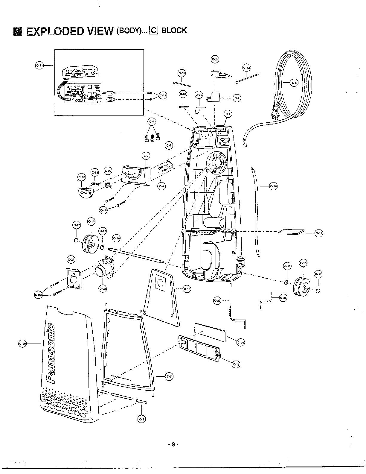 panasonic vacuum cleaner wiring diagram parts