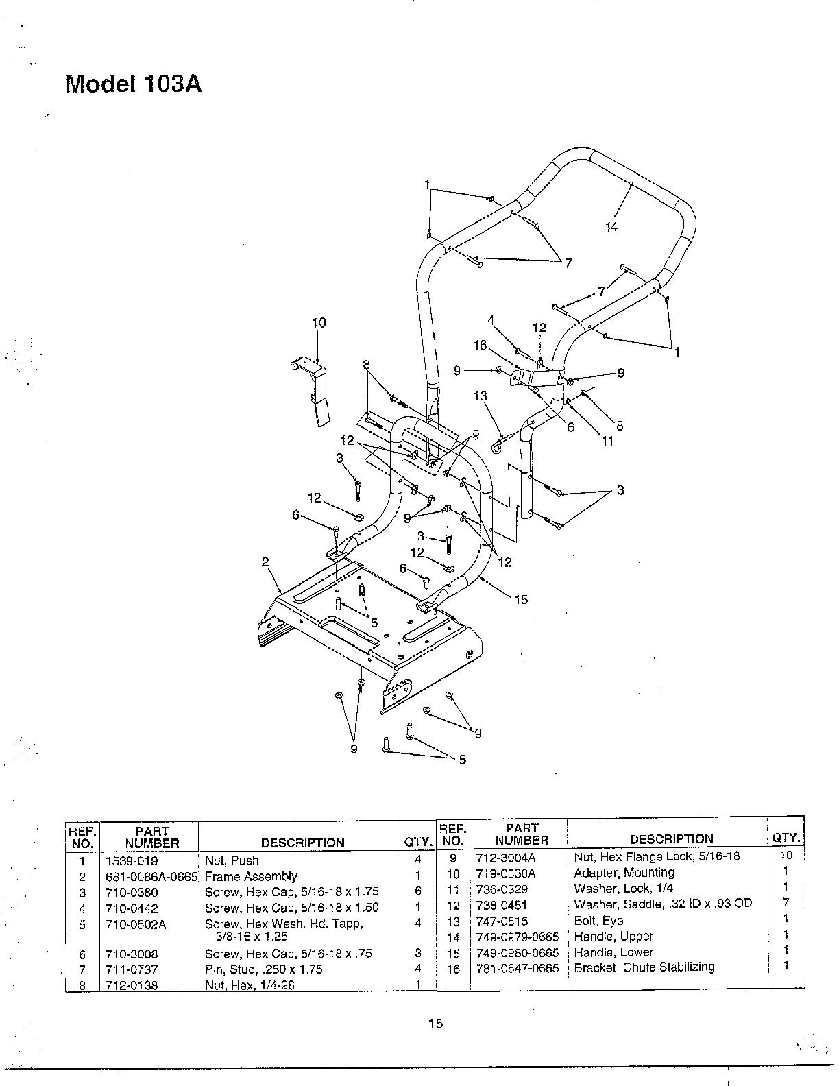Mtd Chipper Shredder-Vacuum Transmission drive Parts