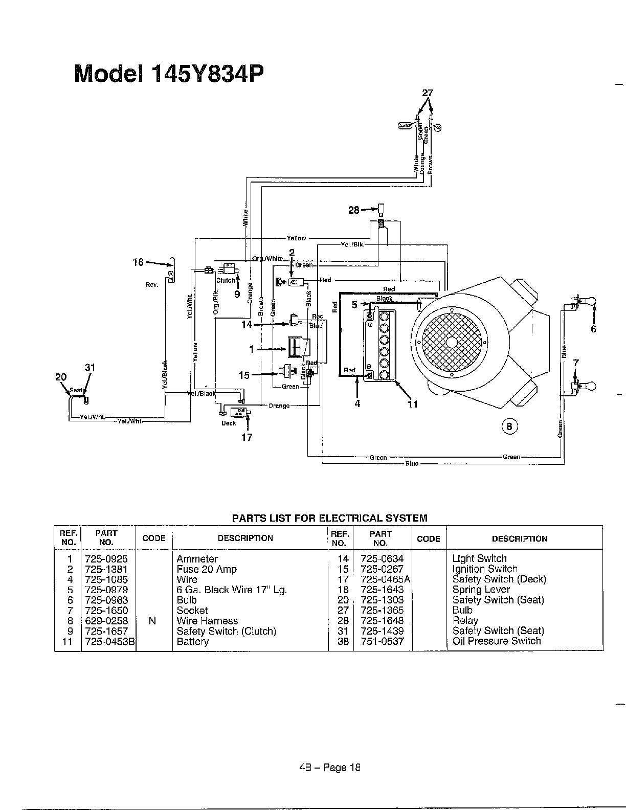Wire Diagram And Parts List For Mtd Riding, Wire, Free