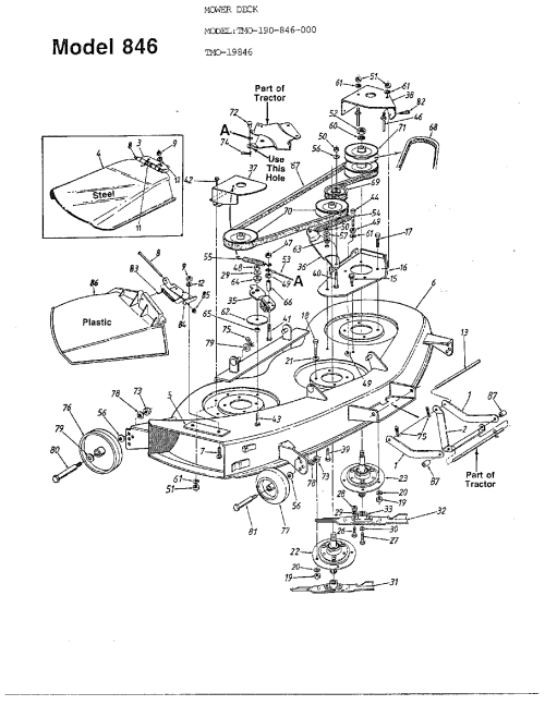 small resolution of mtd model 19846 mower deck genuine parts rh searspartsdirect com mtd parts manual snowblower mtd parts diagram 1998