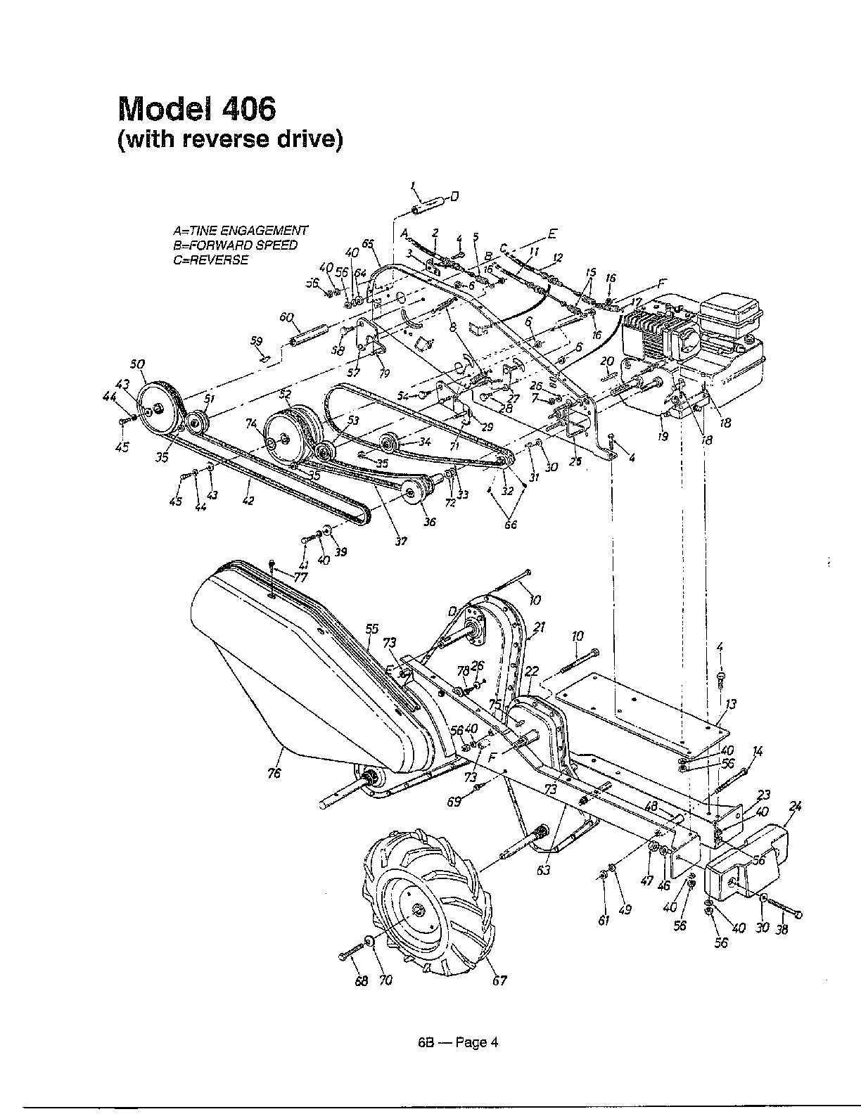REAR TINE TILLER Diagram & Parts List for Model 215410000