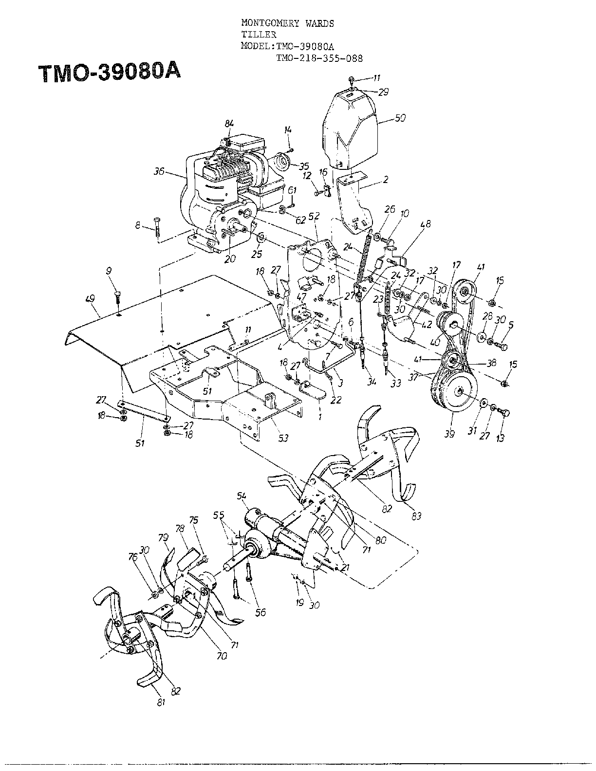 5HP FRONT TINE TILLER Page 3 Diagram & Parts List for