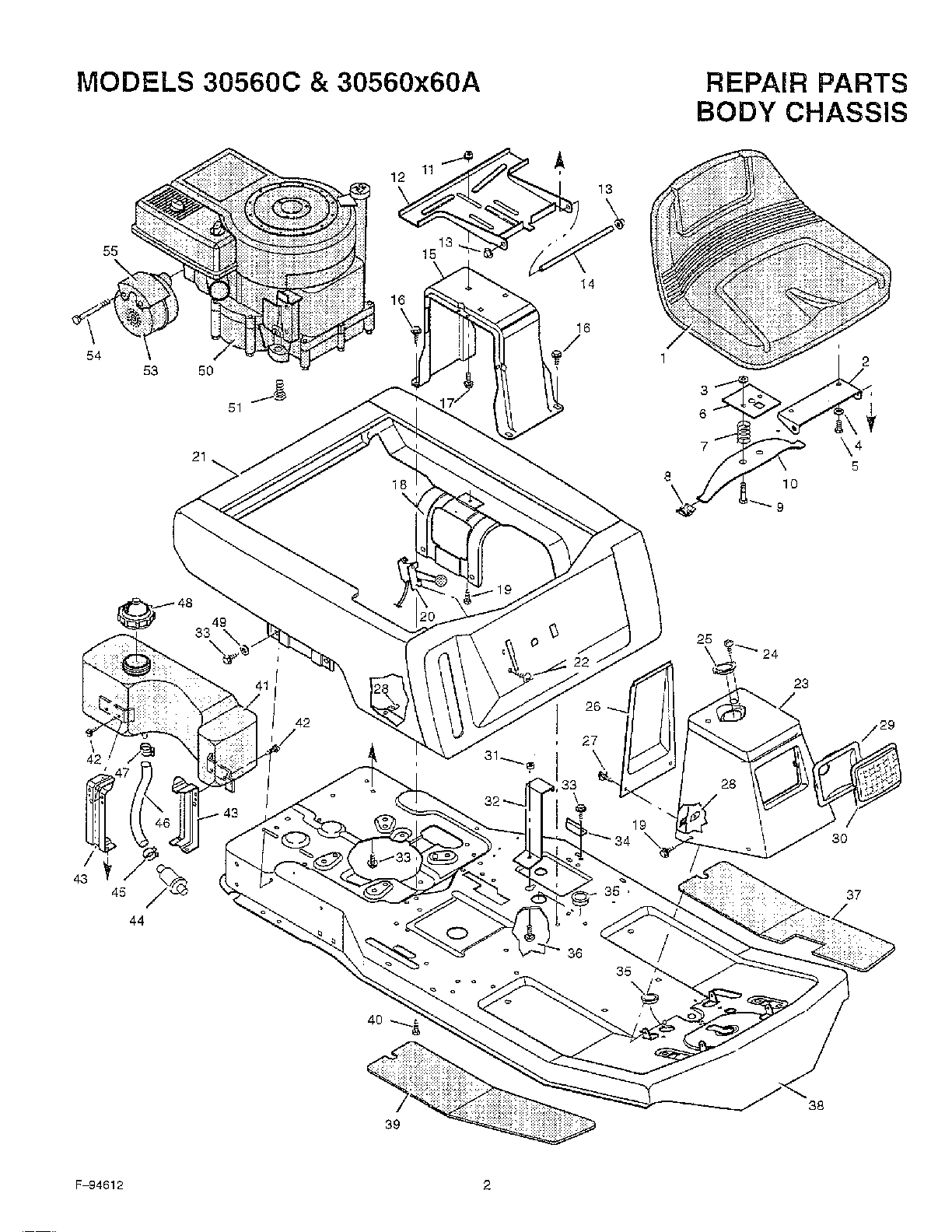 BODY CHASSIS Diagram & Parts List for Model 30560c Murray