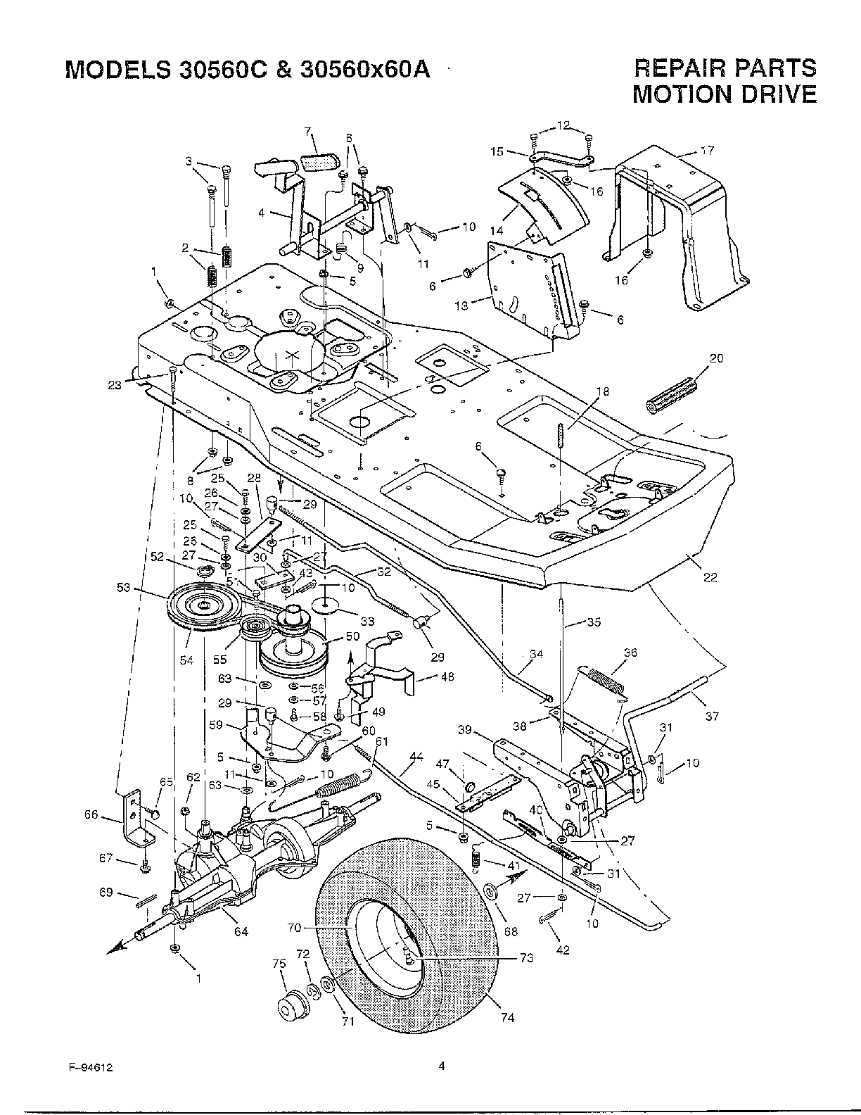 MOTION DRIVE Diagram & Parts List for Model 30560x60a