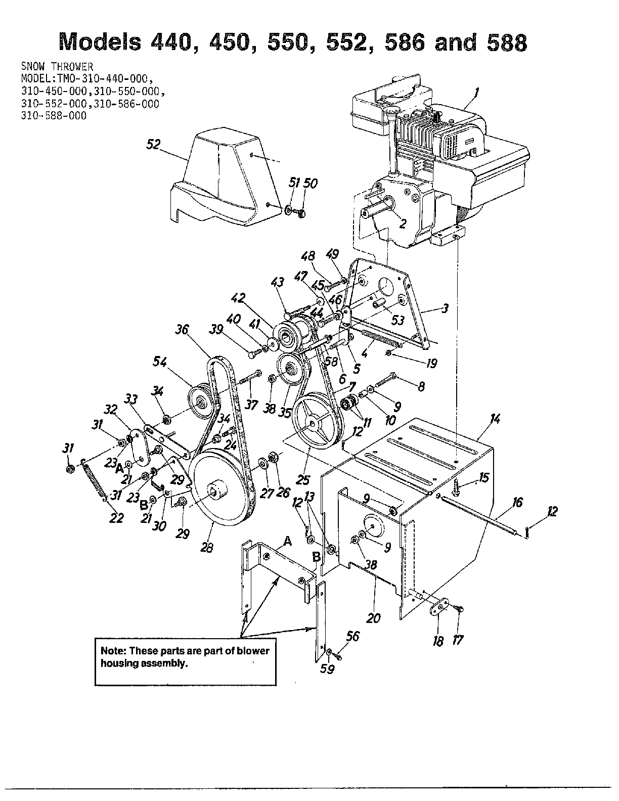 SNOW THROWERS Page 3 Diagram & Parts List for Model