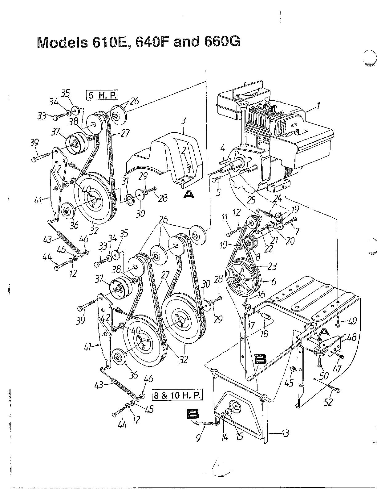 SNOW THROWER Diagram & Parts List for Model 313610E000 Mtd
