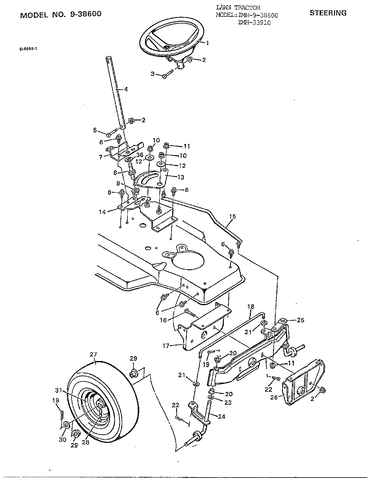 STEERING Diagram & Parts List for Model 33910 Murray-Parts