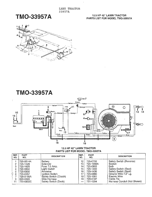 small resolution of looking for mtd model 33944a front engine lawn tractor repairmtd 33944a 12 5 hp 42 wiring diagram