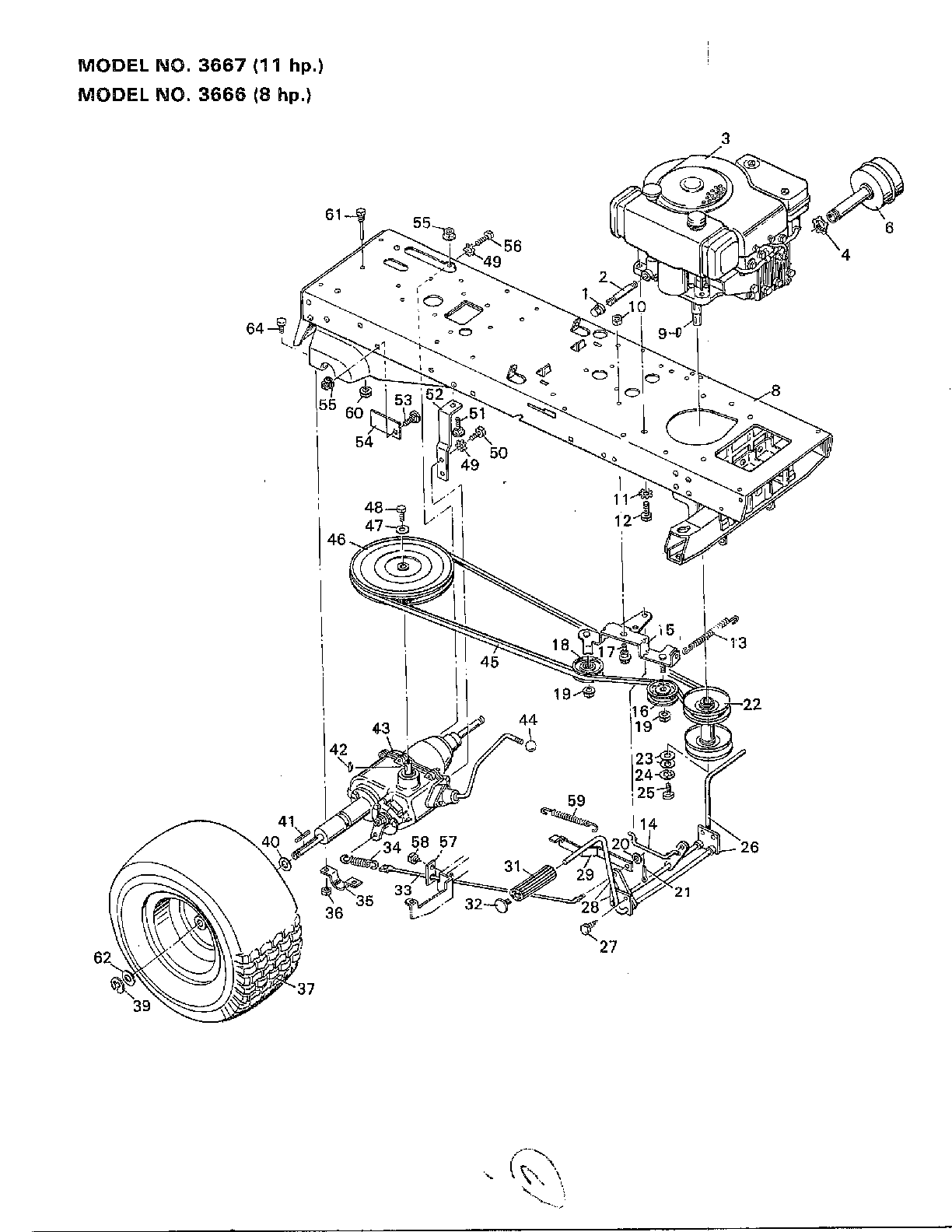 ENGINE/FRAME/MUFFLER/WHEELS Diagram & Parts List for Model