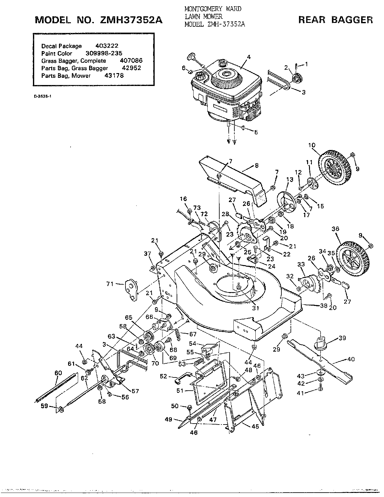 hight resolution of murray 37352a rear bagger diagram