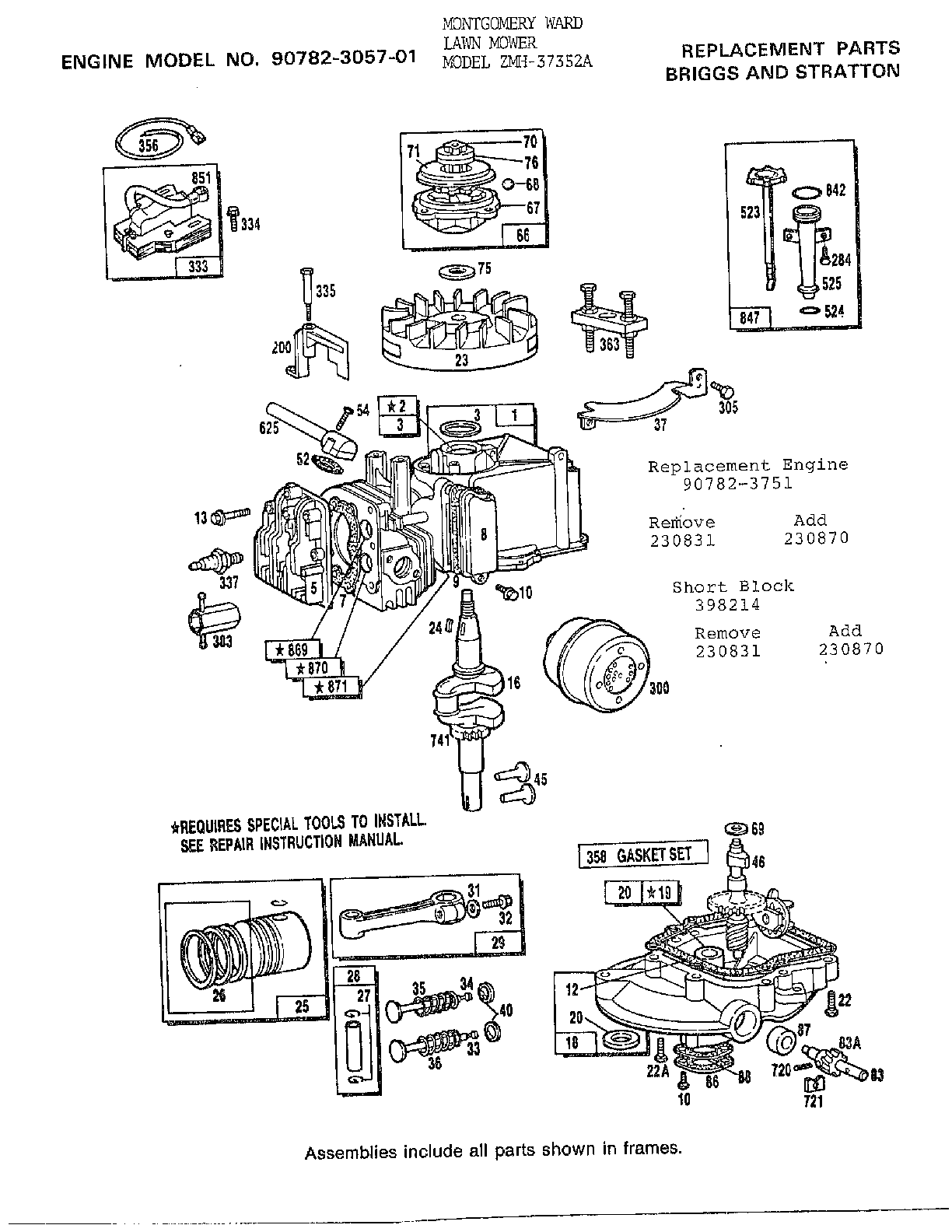 ENGINE-BRIGGS Diagram & Parts List for Model 37352a Murray
