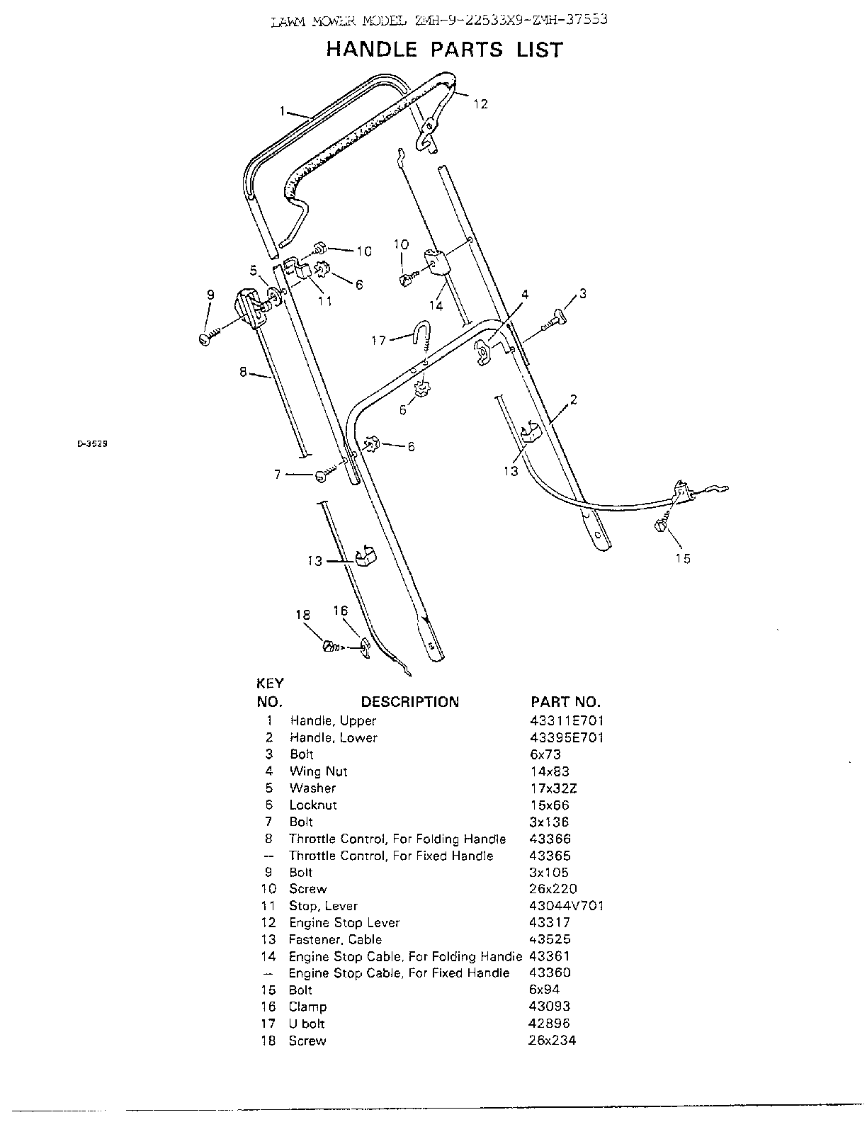 HANDLE Diagram & Parts List for Model 922543x9 Murray