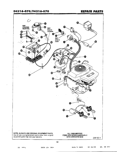 small resolution of noma model f4316 070 lawn tractor genuine parts lawn tractor electrical system noma lawn tractor wiring diagram