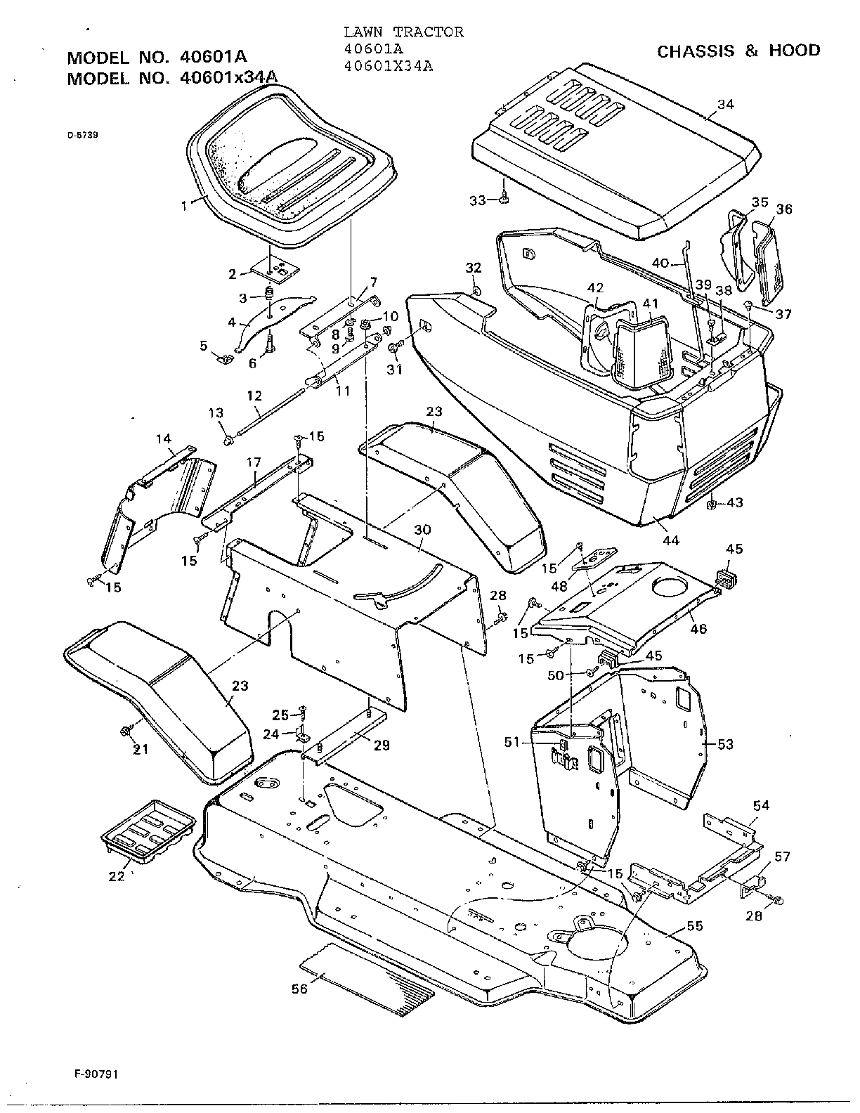 hight resolution of murray 40601a chassis and hood diagram