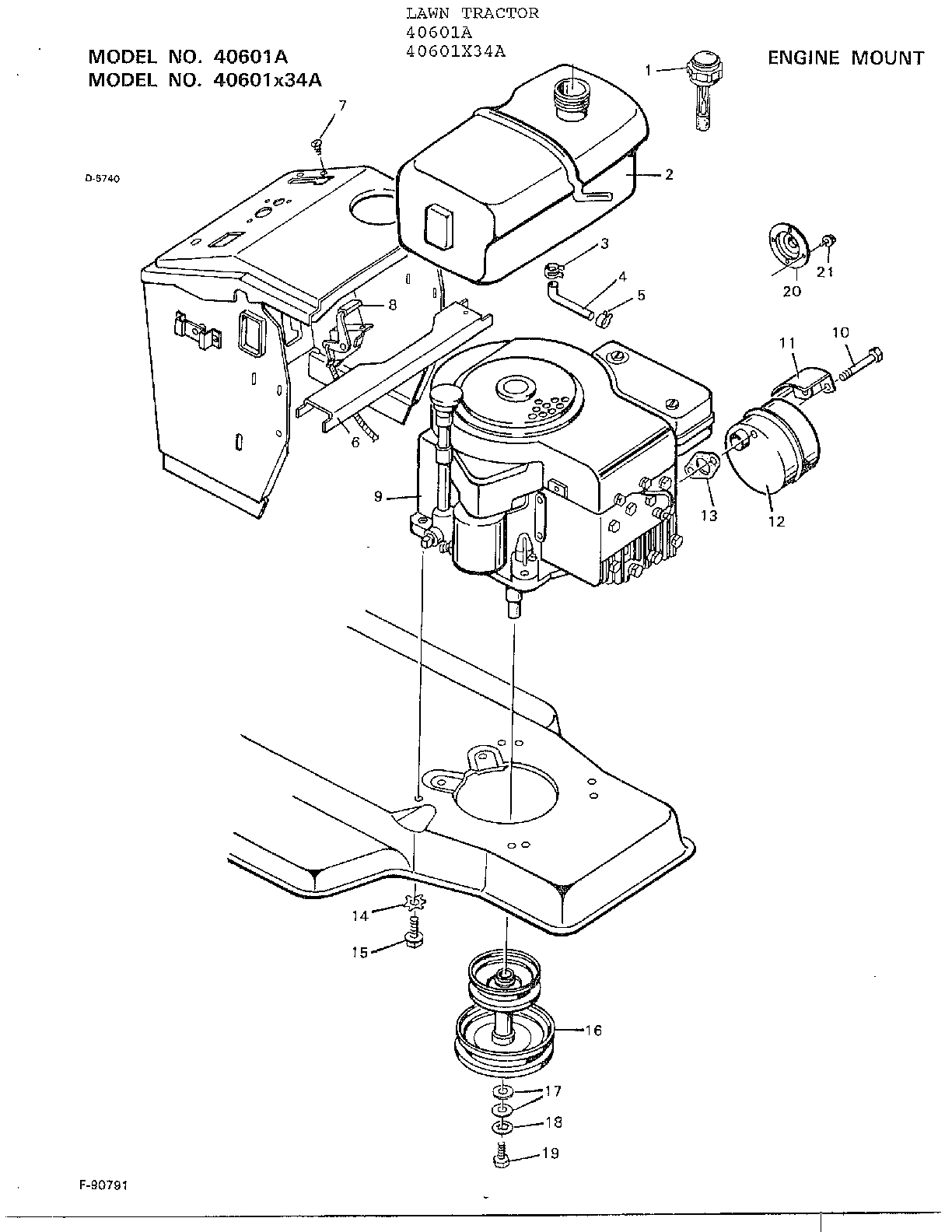 ENGINE MOUNT Diagram & Parts List for Model 40601A Murray