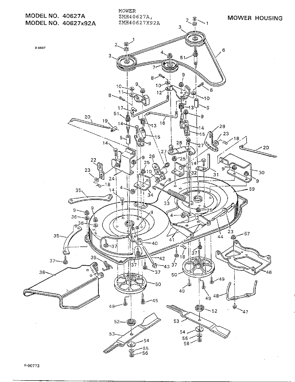 medium resolution of murray 40627x92a mower housing diagram