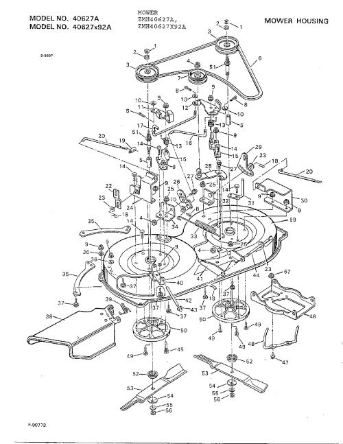 small resolution of murray 40627x92a mower housing diagram
