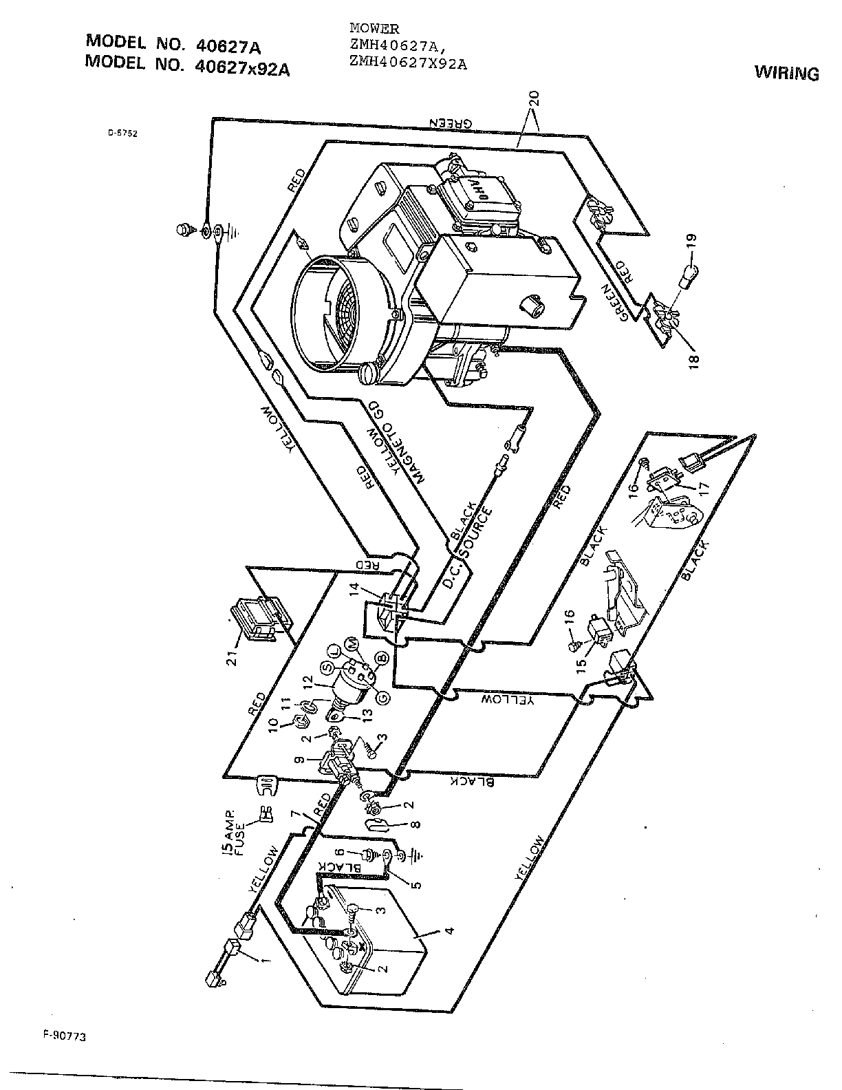 WIRING Diagram & Parts List for Model 40627x92a Murray