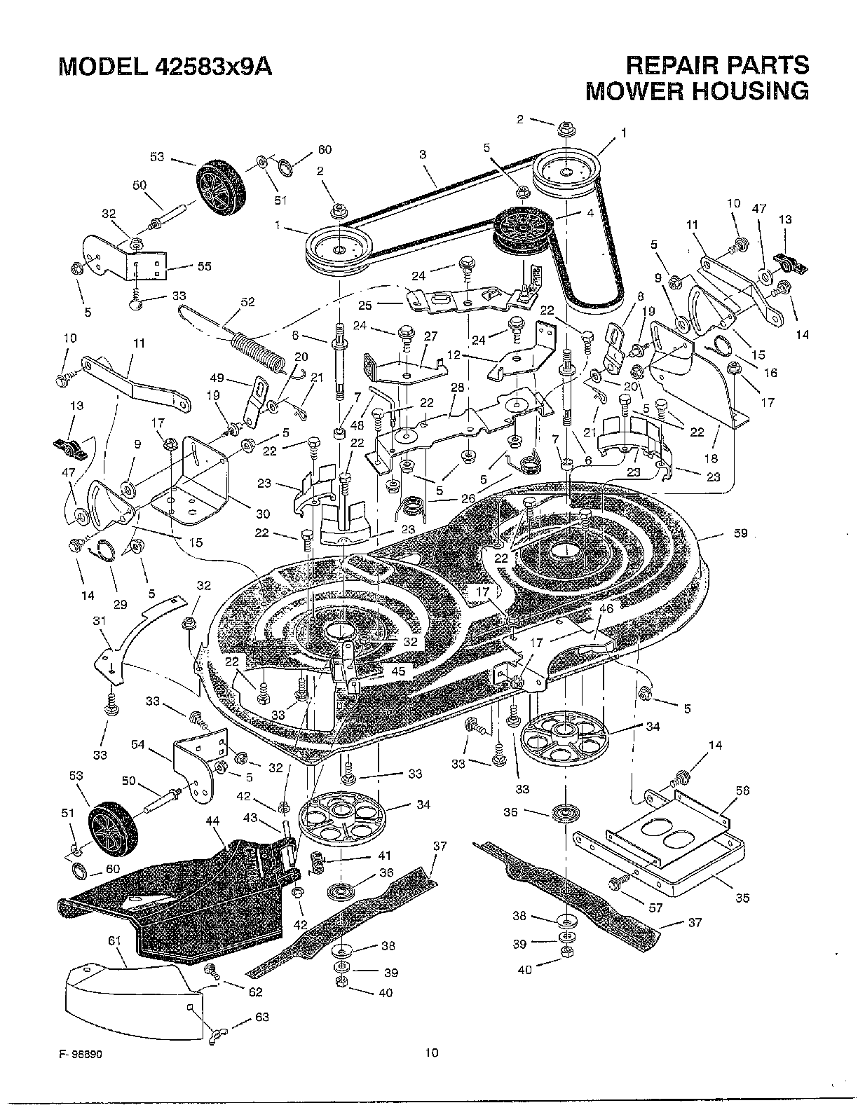hight resolution of mower housing diagram and parts list for murray walkbehindlawnmower