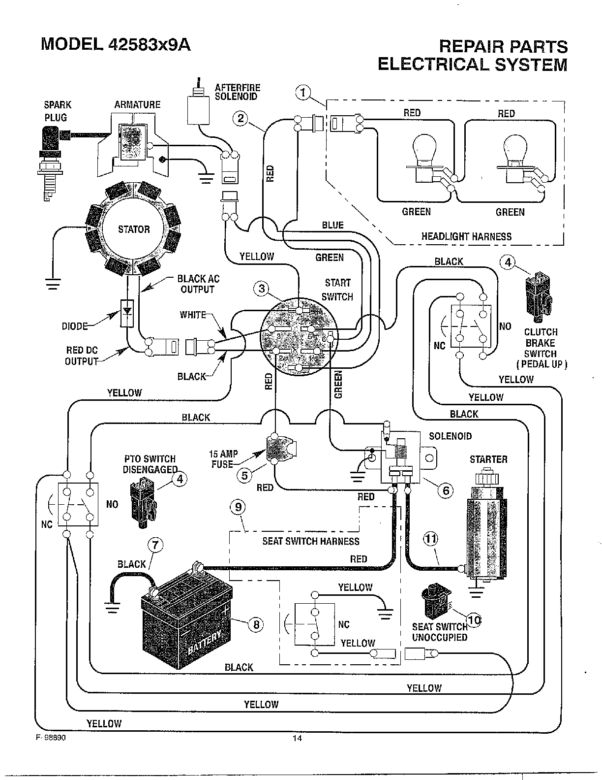 hight resolution of huskee riding mower electrical diagram