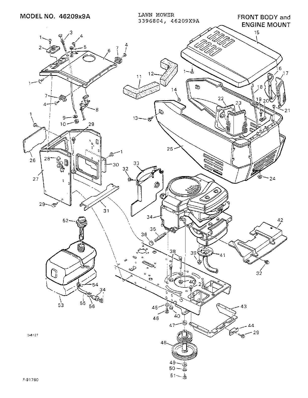 FRONT BODY/ENGINE MOUNT Diagram & Parts List for Model