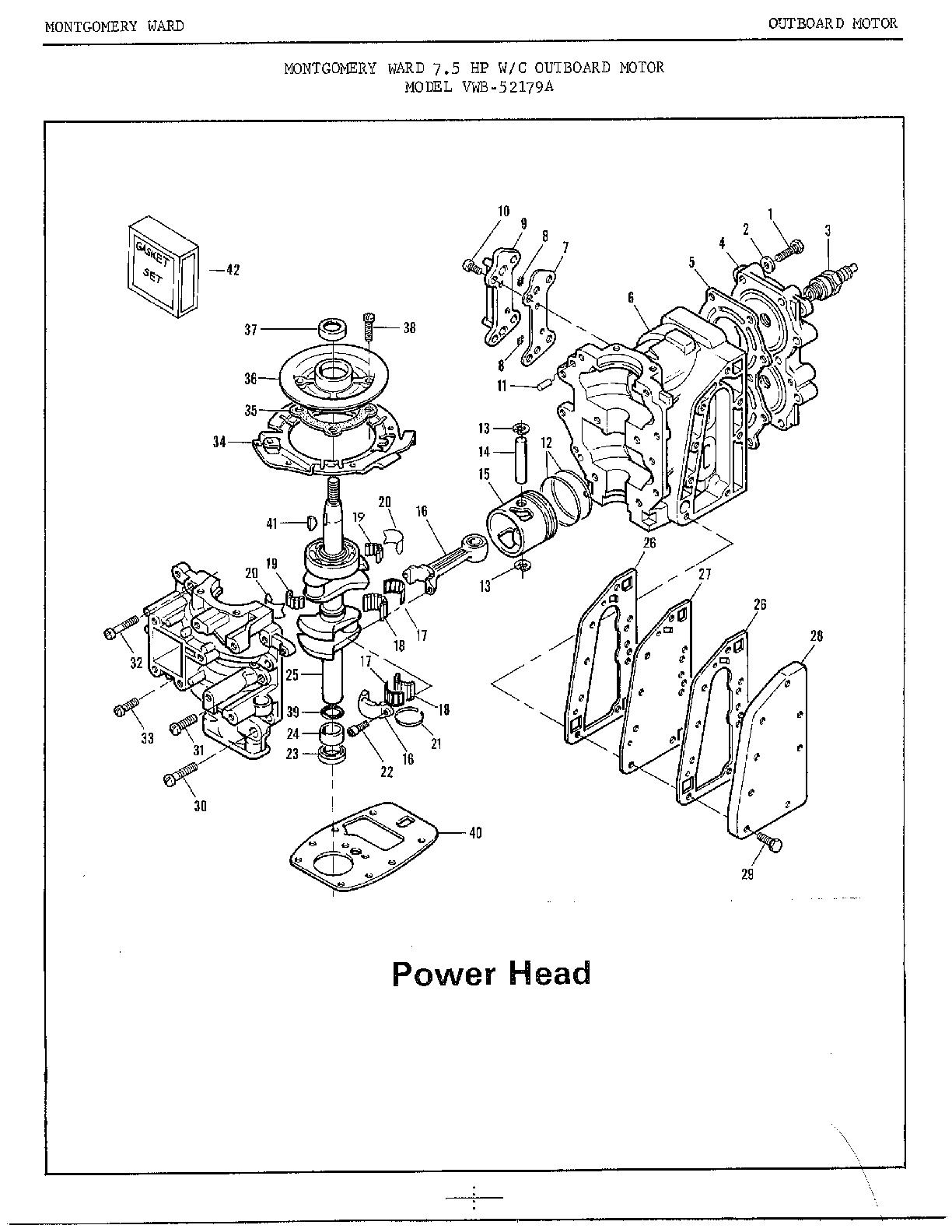 7.5HP OUTBOARD MOTOR/POWER HEAD Diagram & Parts List for