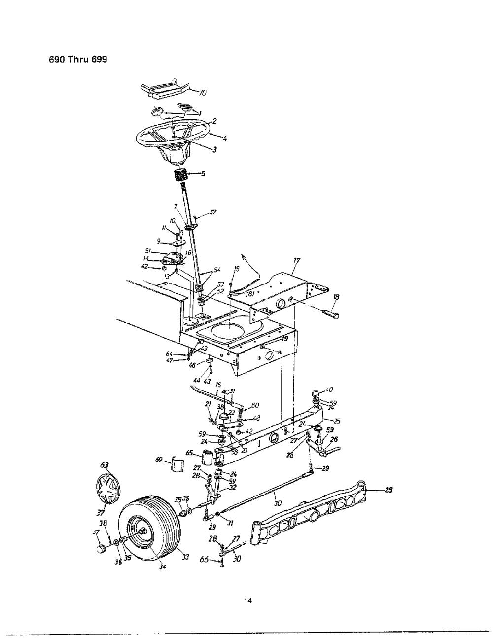 medium resolution of mtd 690 thru 699 steering wheel frt wheel chart diagram