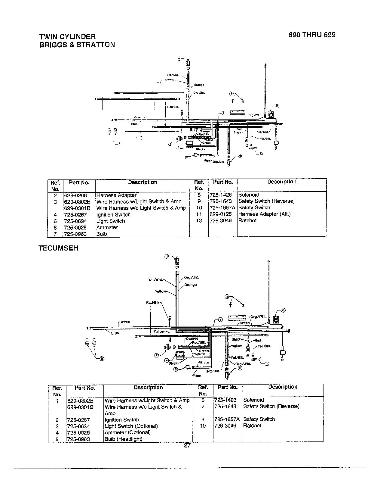 hight resolution of mtd 690 thru 699 electrical twin cylinder tecumseh diagram