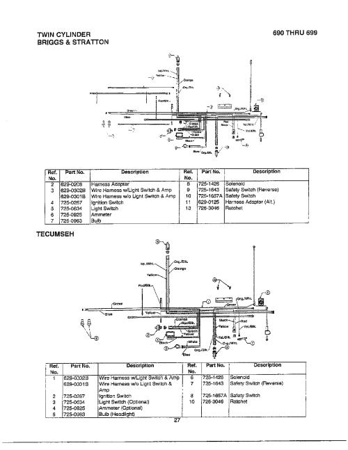 small resolution of mtd 690 thru 699 electrical twin cylinder tecumseh diagram