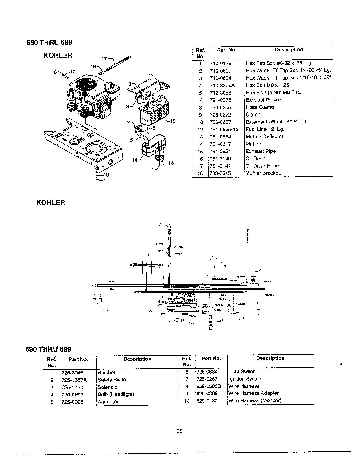 hight resolution of mtd 690 thru 699 muffler electrical diagram