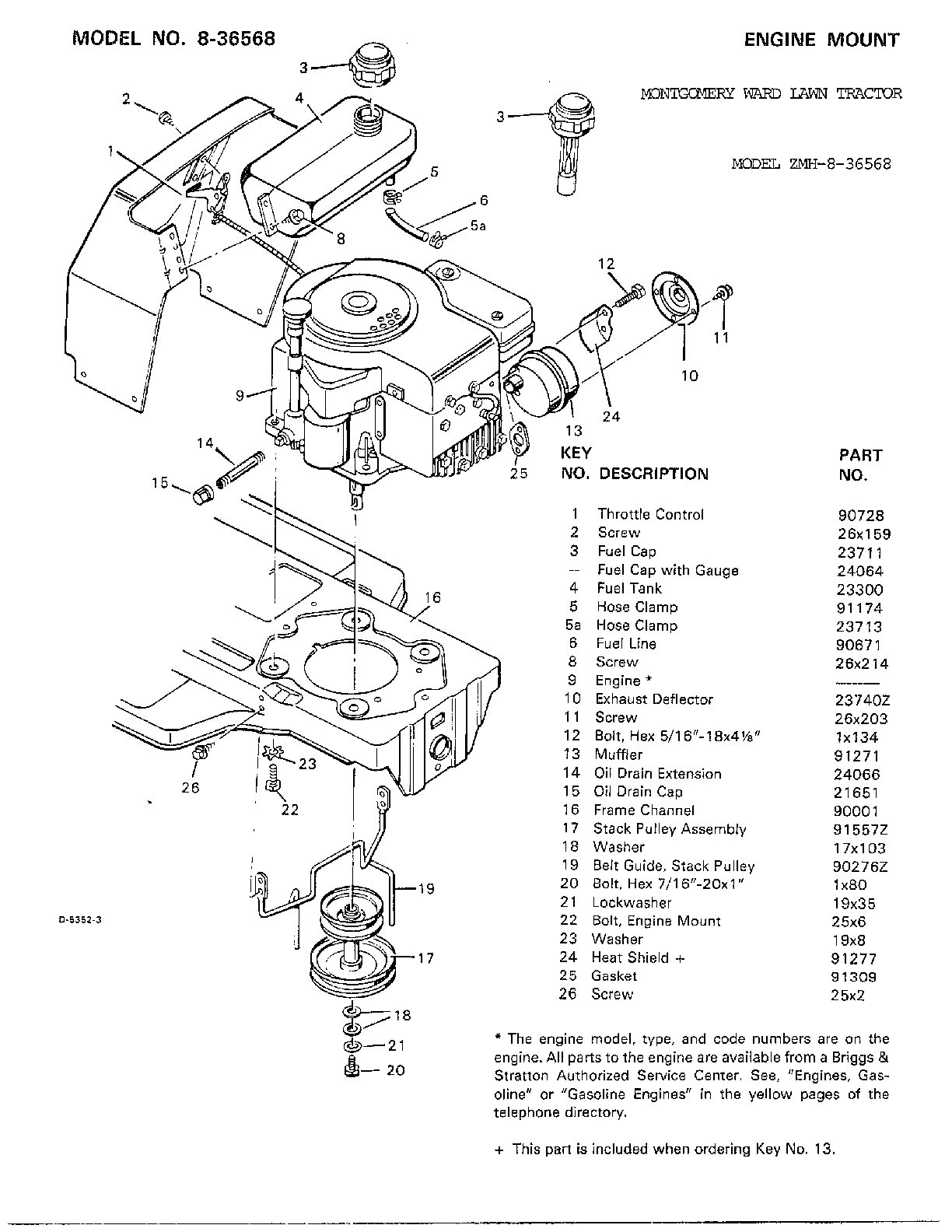 ENGINE MOUNT Diagram & Parts List for Model 836568 Murray