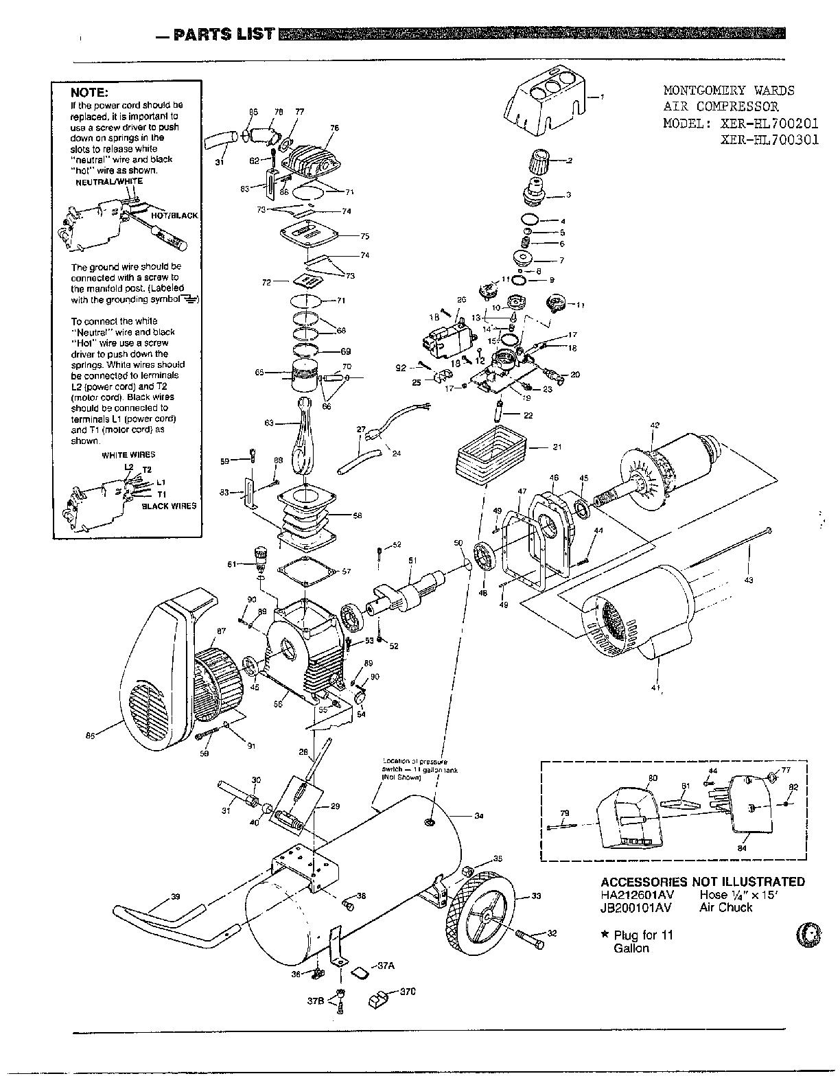 AIR COMPRESSOR Diagram & Parts List for Model hl700201