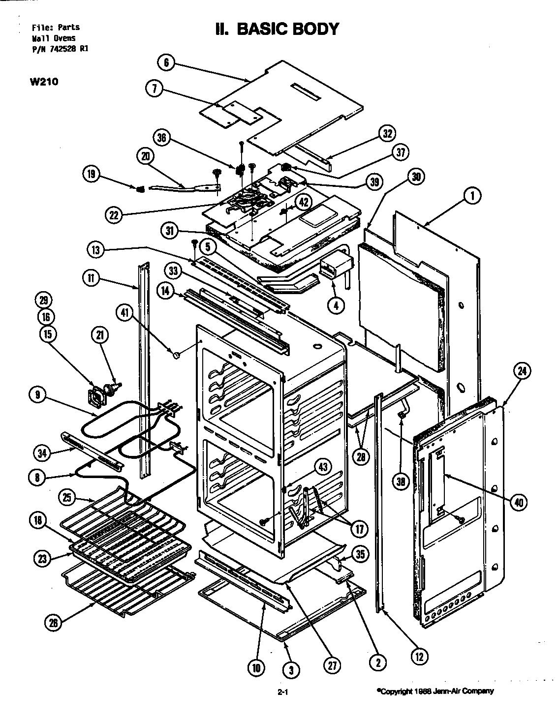 BODY Diagram & Parts List for Model w215 Jenn-air-Parts