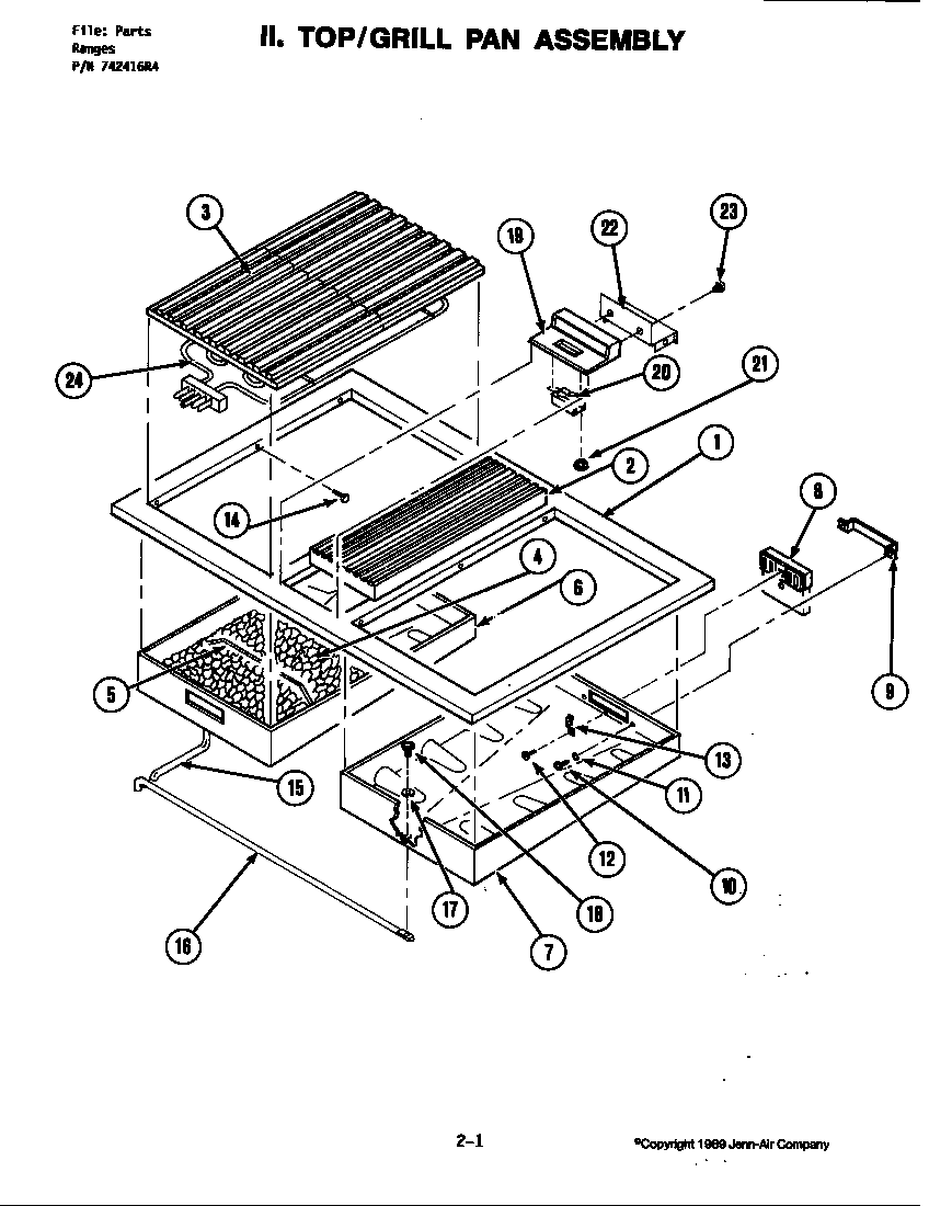 TOP ASSEMBLY Diagram & Parts List for Model s160 Jenn-air