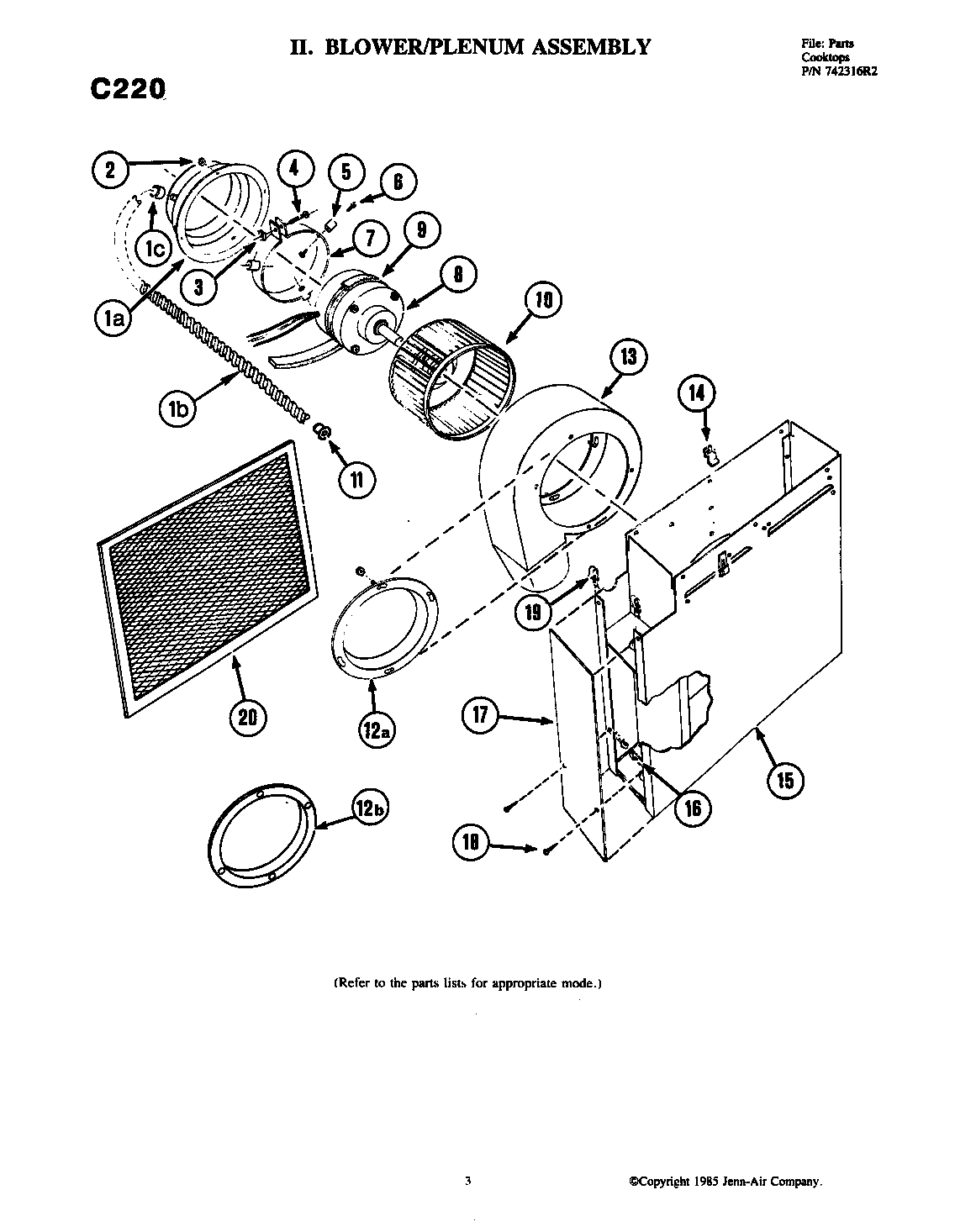 BLOWER ASSEMBLY Diagram & Parts List for Model C220 Jenn